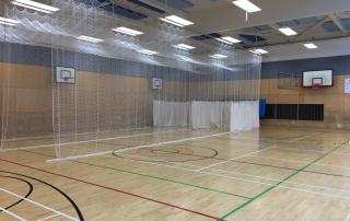side view of indoor netting