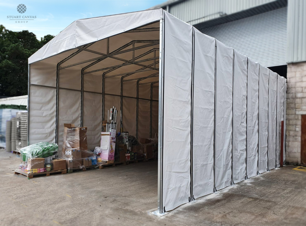 Temporary structure in grey
